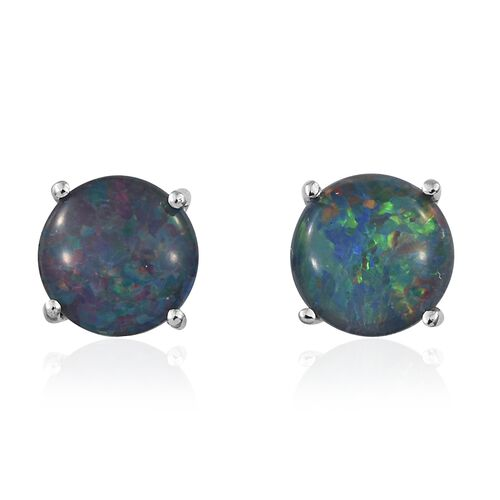 Australian Boulder Opal (Rnd) Stud Earrings (with Push Back) in Platinum Overlay Sterling Silver 2.750 Ct.