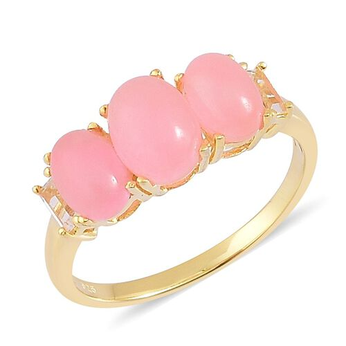 Pink Jade (Ovl 1.50 Ct), White Topaz Ring in Yellow Gold Overlay Sterling Silver 4.000 Ct.