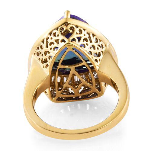 ILIANA 18K Y Gold AAAA Peacock Tanzanite (Trl 12.46 Ct), Diamond (SI/G-H) Ring 13.250 Ct.