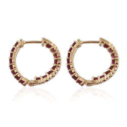 Mahenge Spinel (Rnd) Hoop Earrings in 14K Gold Overlay Sterling Silver 1.500 Ct.