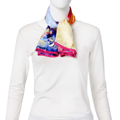 One Time Deal-Designer Inspired 100% Mulberry Silk Blue, Pink and Multi Colour Cat Pattern Scarf (Size 88x85 Cm)