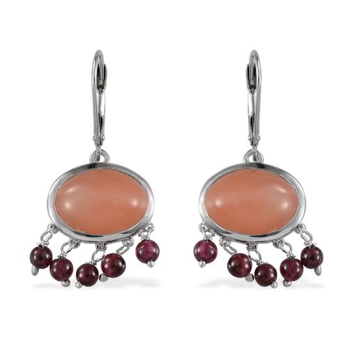 Mitiyagoda Peach Moonstone (Ovl), Rhodolite Garnet Earrings in Platinum Overlay Sterling Silver 19.000 Ct.