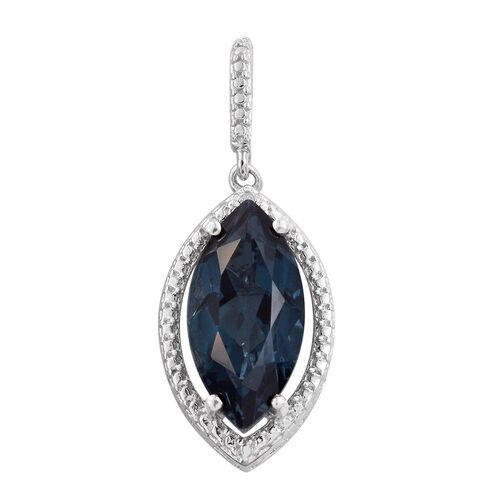 Indicolite Quartz (Mrq), Diamond Pendant in Platinum Overlay Sterling Silver 4.750 Ct.