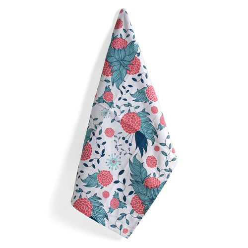 Kitchen Textiles - 100% Cotton Red, Aquamarine and White Colour Flower and Leaves Printed Apron (75x65 Cm), Glove (32x18 Cm), Pot Holder (20x20 Cm), Kitchen Towel (65x40 Cm) and Bag (45x35 Cm)