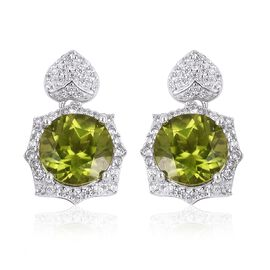 Hebei Peridot (Rnd), Natural White Cambodian Zircon Earrings (with Push Back) in Rhodium Overlay Sterling Silver 9.510 Ct. Silver wt 5.00 Gms.