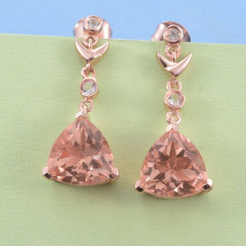 Galileia Blush Pink Quartz (Trl), White Topaz Earrings (with Push Back) in Rose Gold Overlay Sterling Silver 7.750  Ct.