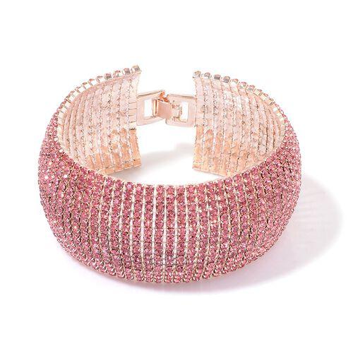 AAA Pink Austrian Crystal Bracelet (Size 8) in Rose Gold Tone