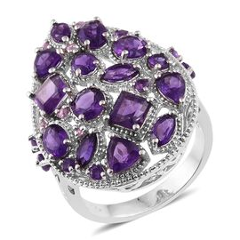 Designer Inspired - Amethyst (Sqr), Pink Sapphire Ring in Platinum Overlay Sterling Silver 7.000 Ct.