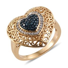 Blue Diamond (Rnd), White Diamond Heart Ring in 14K Gold Overlay Sterling Silver 0.330 Ct.