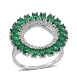 ELANZA AAA Simulated Green Tourmaline (Ovl), Simulated Diamond Ring in Rhodium Plated Sterling Silver. Silver wt. 5.00 Gms.