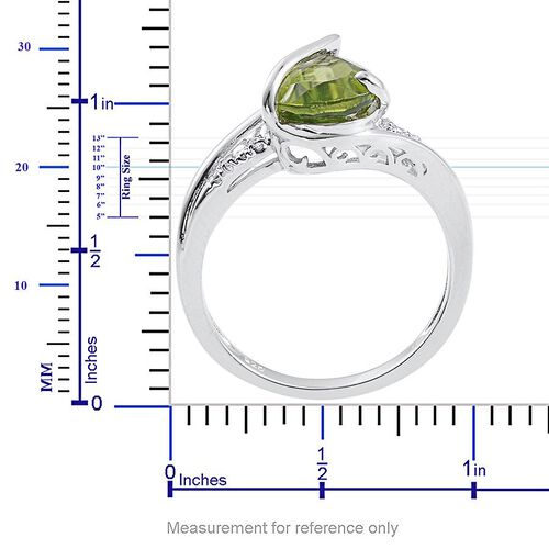 AA Hebei Peridot (Pear 3.00 Ct), White Topaz Ring in Platinum Overlay Sterling Silver 3.020 Ct.