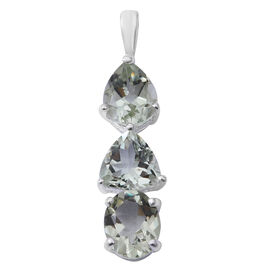 Green Amethyst (Ovl) Pendant in Sterling Silver 6.300 Ct.