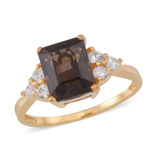 Brazilian Smoky Quartz (Oct 2.75 Ct), White Topaz Ring in 14K Gold Overlay Sterling Silver 3.000 Ct.