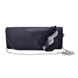Black Colour Satin Clutch with White Austrian Crystal and Removable Chain Strap (Size 24x9 Cm)