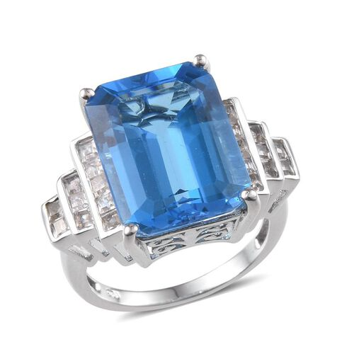 Electric Swiss Blue Topaz (Oct 15.00 Ct), White Topaz Ring in Platinum Overlay Sterling Silver 16.500 Ct.
