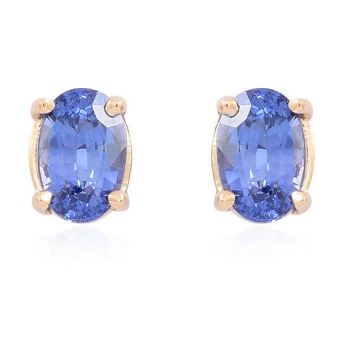 ILIANA 18K Y Gold AAA Ceylon Sapphire (Ovl) Stud Earrings (with Screw Back) 1.250 Ct.