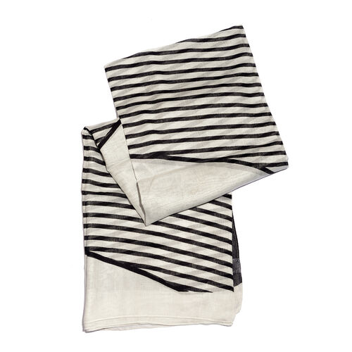 Stripe Pattern Black and White Colour Scarf (Size 180x100 Cm)