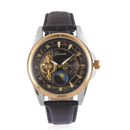 GENOA Automatic Skeleton Black and Golden Dial Water Resistant Watch in Silver Tone with Black Colour Leather Strap