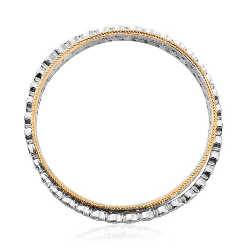 J Francis - Platinum and Yellow Gold Overlay Sterling Silver SPINNER Bangle (Size 8.75) Made with SWAROVSKI ZIRCONIA, Silver wt 37.52 Gms.