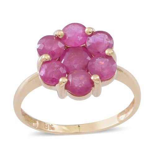 9K Y Gold AAA Burmese Ruby (Rnd) 7 Stone Floral Ring 2.500 Ct.