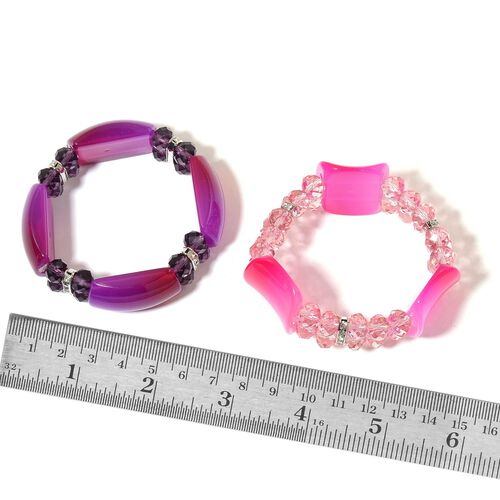 Set of 2 - Simulated Pink and Purple Colour Diamond and White Austrian Crystal Stretchable Bracelet (Size 7.5) in Silver Tone