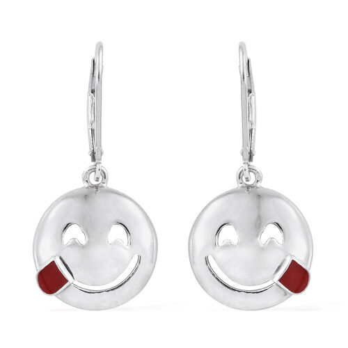 Savoring Food Face Smiley Silver Lever Back Earrings in Platinum Overlay