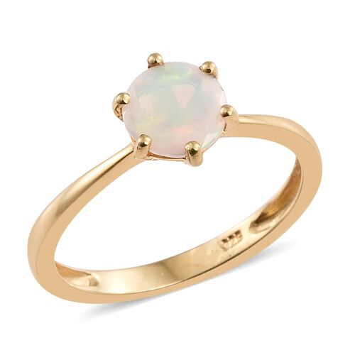 Ethiopian Welo Opal 1 Carat Silver Solitaire Ring in 14K Gold Overlay