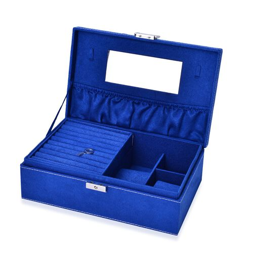 Dark Blue Colour Velvet Jewellery Box with Mirror Inside (Size 25X16X8.5 Cm)