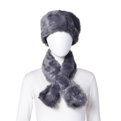 Dark Grey Colour Faux Fur Scarf (Size 88X10 Cm), Cap (Size 29X18 Cm) and Pom Pom Keychain (Size 10 Cm)