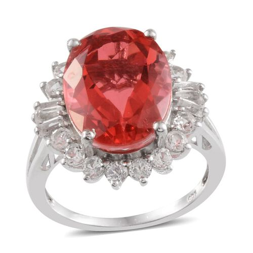 Padparadscha Colour Quartz (Ovl 8.50 Ct), White Topaz Ring in Platinum Overlay Sterling Silver 10.250 Ct.