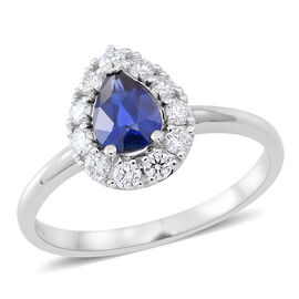ILIANA 18K White Gold 1.15 Ct. AAAA Ceylon Sapphire Halo Ring with Diamond (SI/G-H)