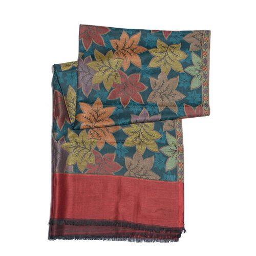100% Superfine Modal Multi Colour Leaves Pattern Red and Green Colour Jacquard Scarf (Size 190x70 Cm)