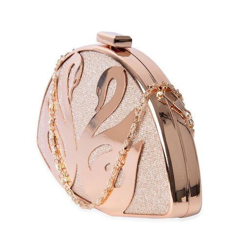 (Option 1) Premium Collection Gold Plating Swan Clutch Bag with Chain Strap (Size 20x11x4.5 Cm)