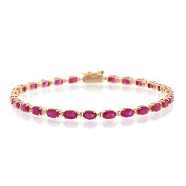 9K Yellow Gold 9.25 Ct AAA Burmese Ruby Tennis Bracelet (Size 7.5)