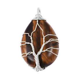 Tigers Eye (Pear 35x25mm) Tree of Life Pendant in Silver Tone