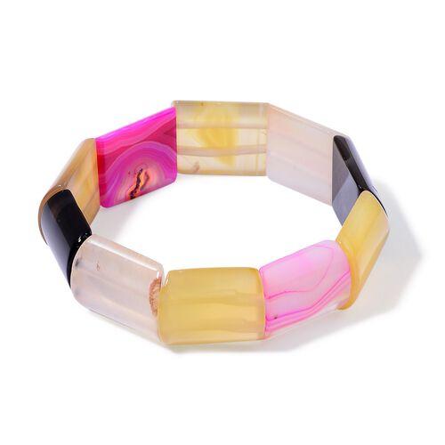 Multi Colour Agate Stretchable Bracelet (Size 7.5) 254.000 Ct.