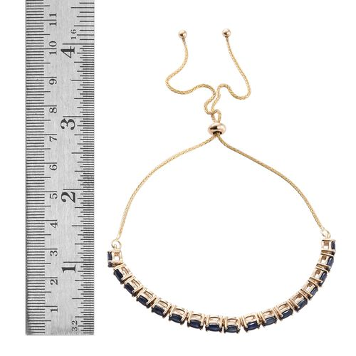 9K Yellow Gold 5 Carat AA Kanchanaburi Blue Sapphire (Ovl) Adjustable Bracelet (Size 6.5 to 9.5)