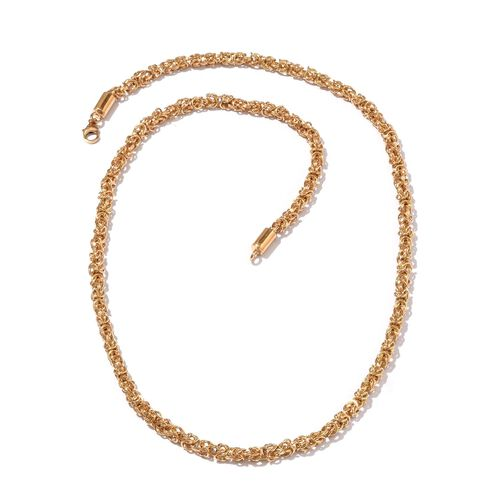 14K Gold Overlay Sterling Silver Byzantine Necklace (Size 20 and 30) and Bracelet (Size 7.50), Silver wt 131.00 Gms.