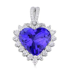 ILIANA 18K W Gold AAAA Tanzanite (Hrt 5.91 Ct), Diamond (SI/G-H) Pendant 6.410 Ct.