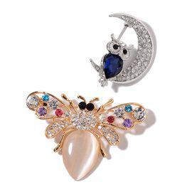 Set of 2 - Simulated White Cats Eye, Simulated Tanzanite, White, Black and Multi Colour Austrian Crystal Owl and Insect Brooch in Yellow Gold Tone
