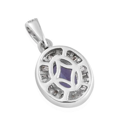 Tanzanite (Ovl), Diamond Pendant in Platinum Overlay Sterling Silver 1.000 Ct.