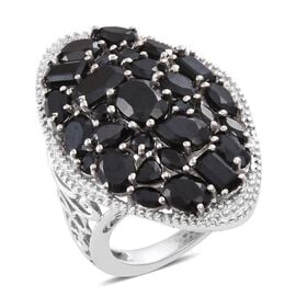 Cocktail Collection - Boi Ploi Black Spinel (Ovl) Cluster Ring in Platinum Overlay Sterling Silver 8.500 Ct. Silver wt. 7.20 Gms.