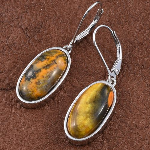 Bumble Bee Jasper (Ovl) Lever Back Earrings in Platinum Overlay Sterling Silver 13.750 Ct.