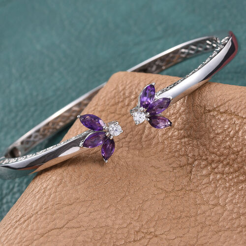 Amethyst (Mrq), Natural Cambodian Zircon Bangle (Size 7.5) in ION Plated Platinum Bond 2.000 Ct.
