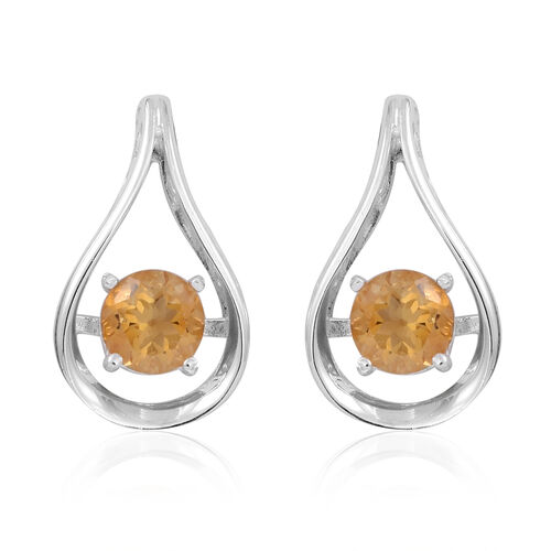 Citrine (Rnd) Earrings (with Push Back) in Sterling Silver 2.000 Ct.