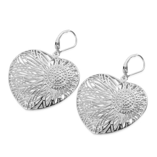 J Francis- Made with SWAROVSKI ZIRCONIA Heart Lever Back Earrings in Platinum Plated Silver 13 grams