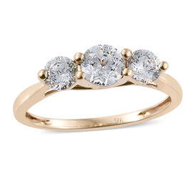 J Francis - 9K Y Gold (Rnd) 3 Stone Ring Made with SWAROVSKI ZIRCONIA