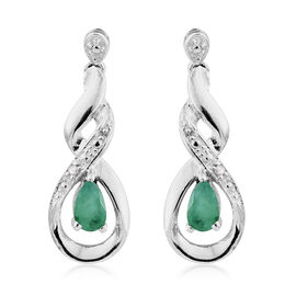Kagem Zambian Emerald, Diamond 0.40 Ct Silver Earrings (with Push Back) in Platinum Overlay