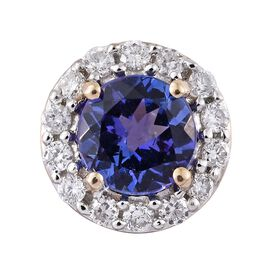 New York Collection - 14K Yellow Gold AAA Tanzanite (Rnd 1.00 Ct), Diamond (I3/G-H) Pendant 1.200 Ct.