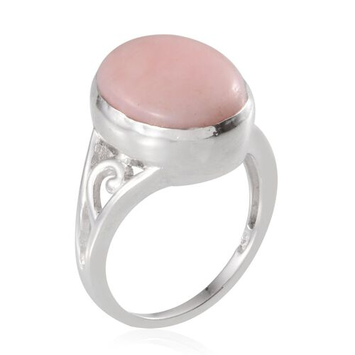 Peruvian Pink Opal (Ovl) Solitaire Ring in Platinum Overlay Sterling Silver 5.750 Ct.